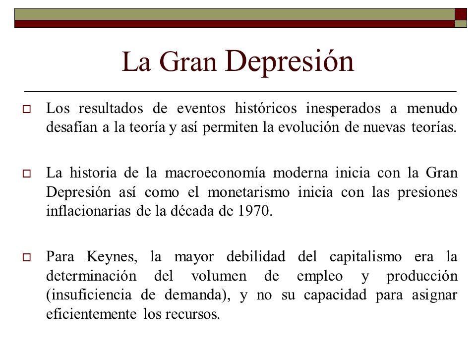 La Gran Depresión Los resultados de eventos históricos inesperados a menudo desafían a la teoría y así permiten la evolución de nuevas teorías.