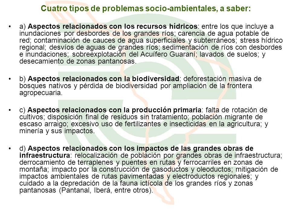 Cuatro tipos de problemas socio-ambientales, a saber: