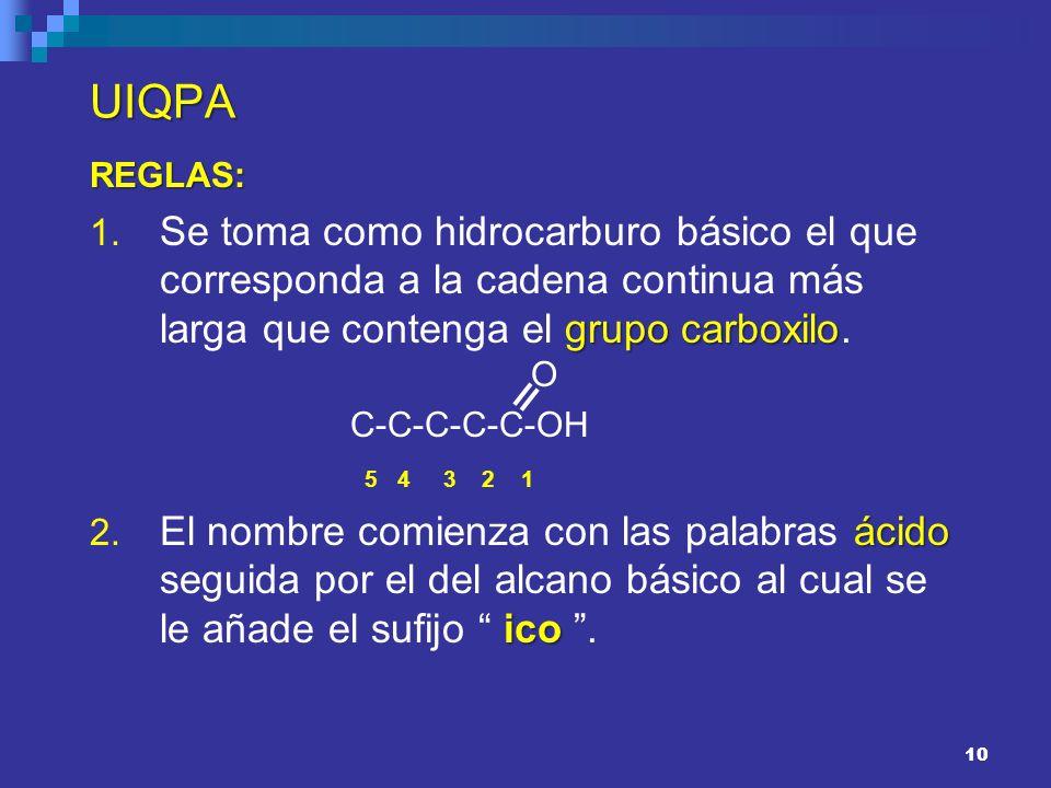UIQPAREGLAS: Se toma como hidrocarburo básico el que corresponda a la cadena continua más larga que contenga el grupo carboxilo. O.