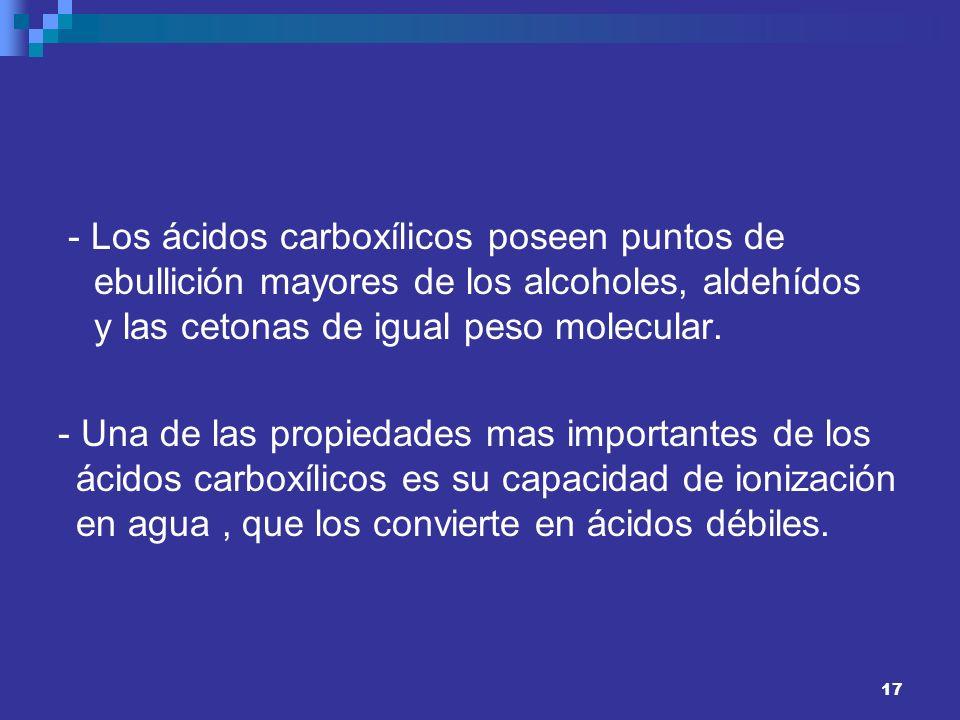 - Los ácidos carboxílicos poseen puntos de ebullición mayores de los alcoholes, aldehídos y las cetonas de igual peso molecular.