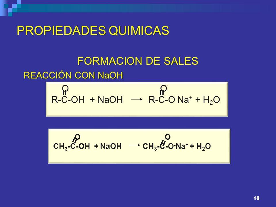 PROPIEDADES QUIMICAS FORMACION DE SALES REACCIÓN CON NaOH