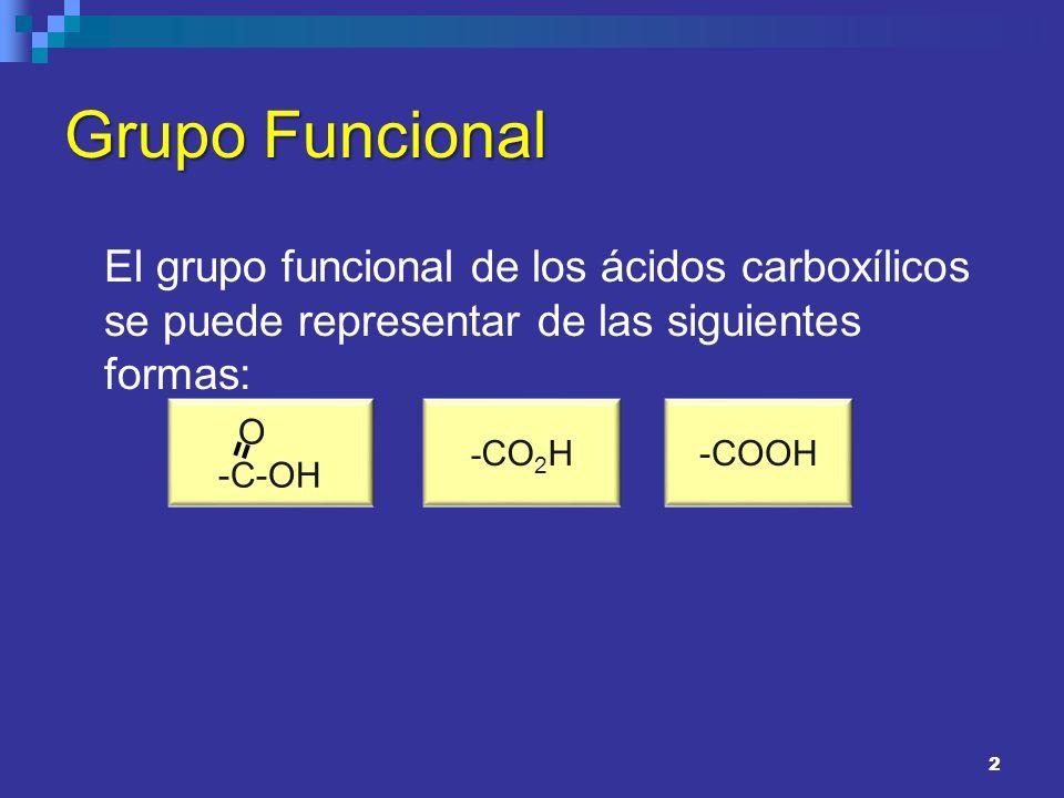 Grupo FuncionalEl grupo funcional de los ácidos carboxílicos se puede representar de las siguientes formas: