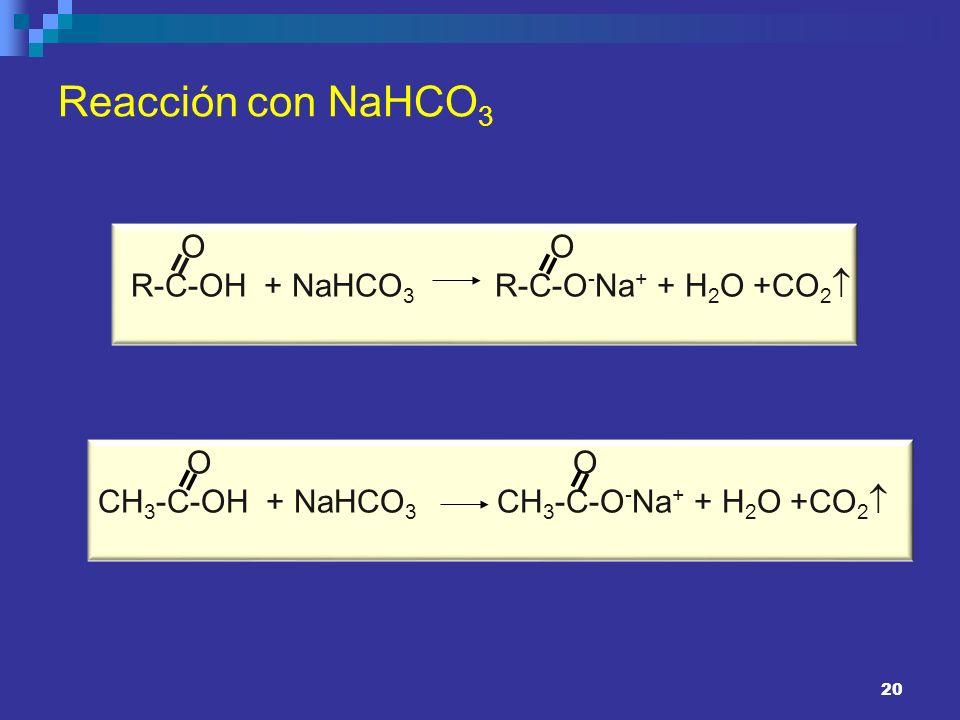 Reacción con NaHCO3 R-C-OH + NaHCO3 R-C-O-Na+ + H2O +CO2