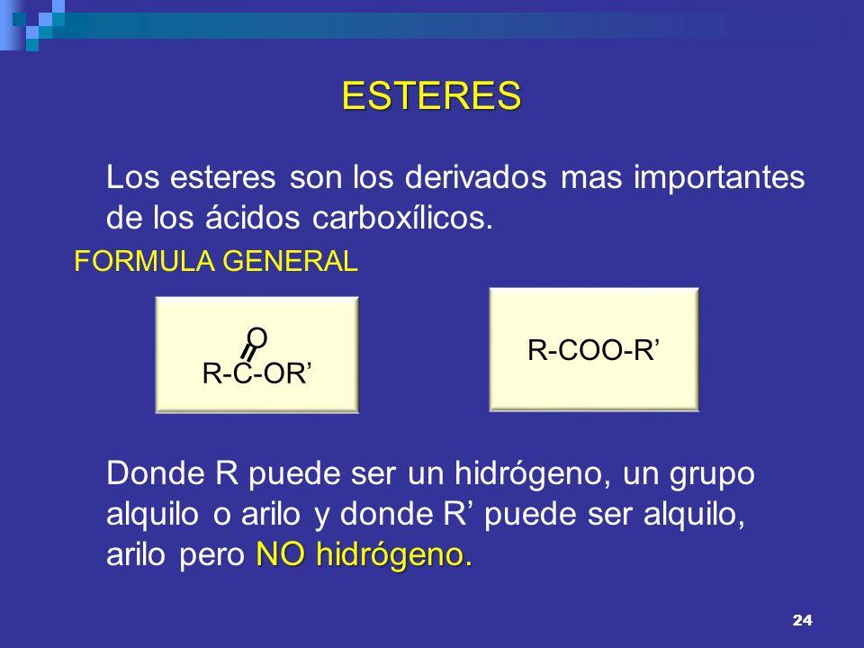 ESTERES Los esteres son los derivados mas importantes de los ácidos carboxílicos. FORMULA GENERAL.