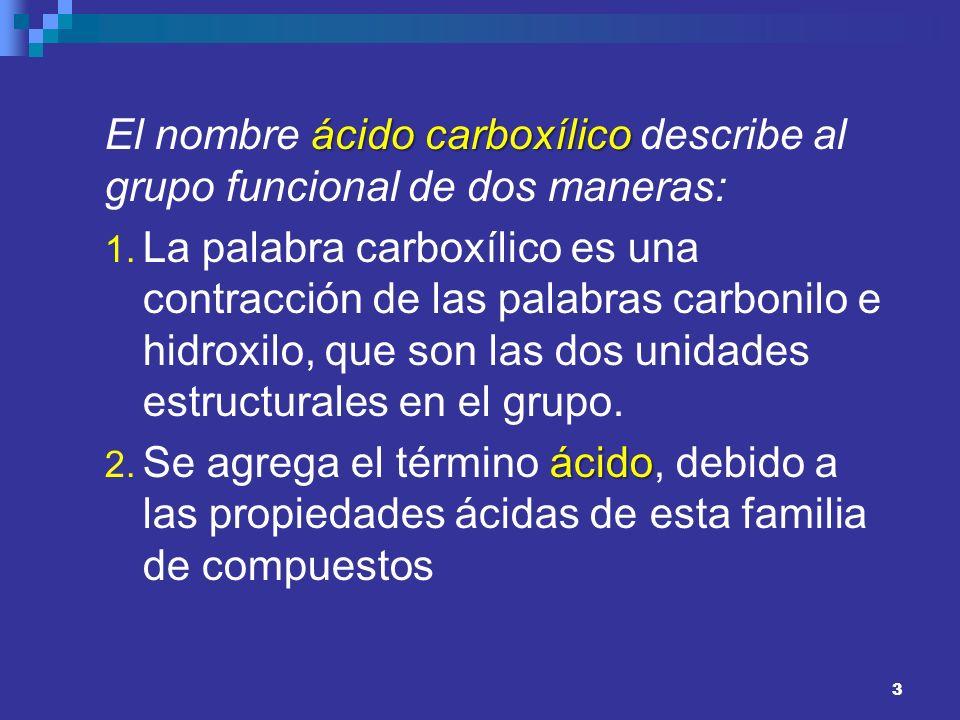 El nombre ácido carboxílico describe al grupo funcional de dos maneras:
