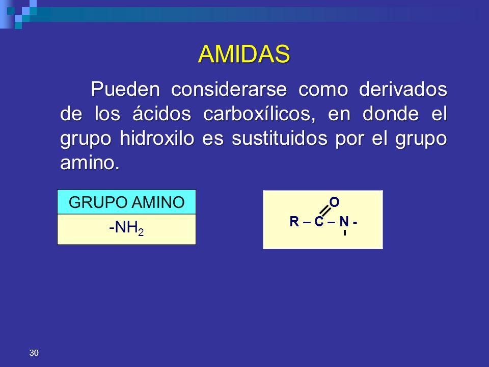 AMIDASPueden considerarse como derivados de los ácidos carboxílicos, en donde el grupo hidroxilo es sustituidos por el grupo amino.