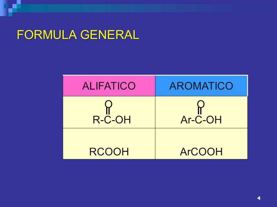 FORMULA GENERAL ALIFATICO AROMATICO O R-C-OH Ar-C-OH RCOOH ArCOOH