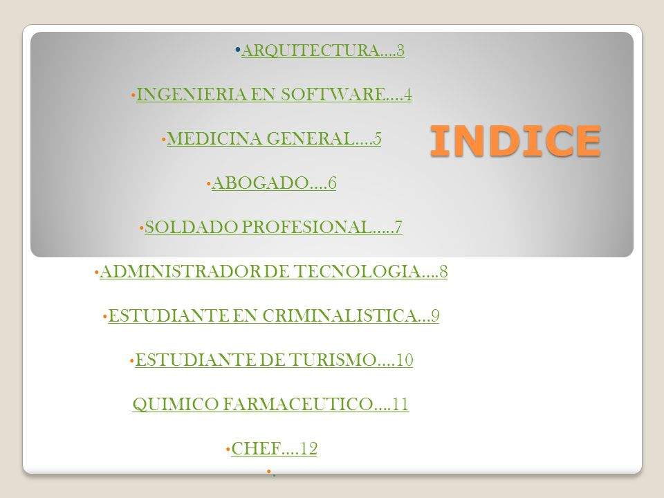 INDICE INGENIERIA EN SOFTWARE….4 MEDICINA GENERAL….5 ABOGADO….6