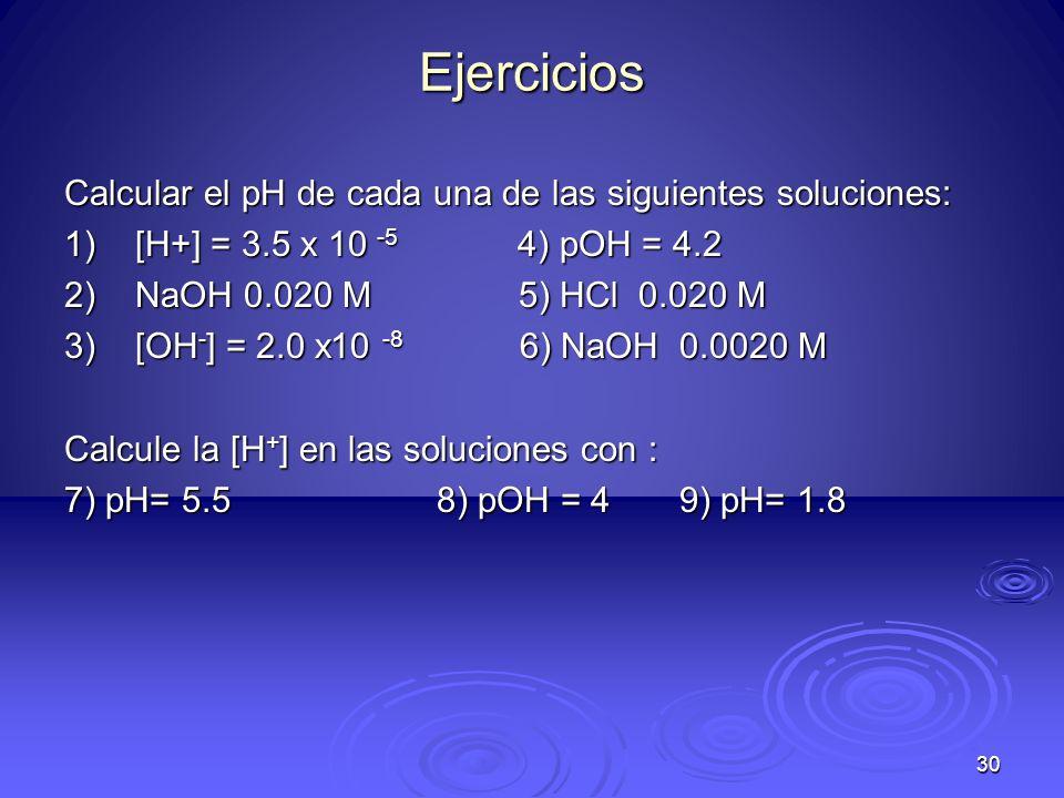 Ejercicios Calcular el pH de cada una de las siguientes soluciones: