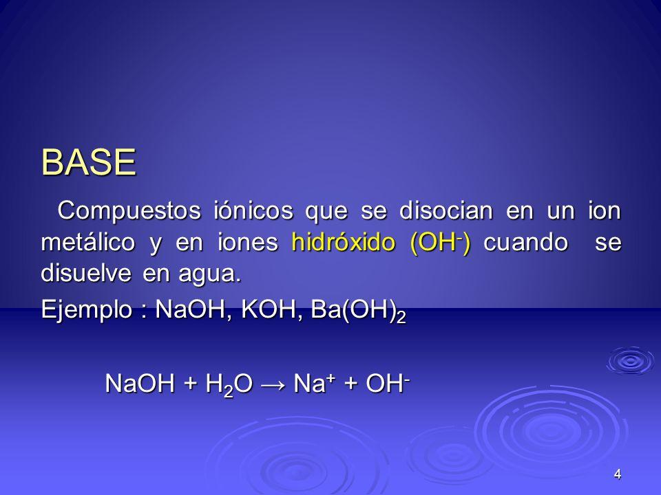 BASECompuestos iónicos que se disocian en un ion metálico y en iones hidróxido (OH-) cuando se disuelve en agua.