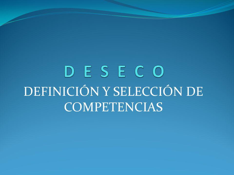DEFINICIÓN Y SELECCIÓN DE COMPETENCIAS