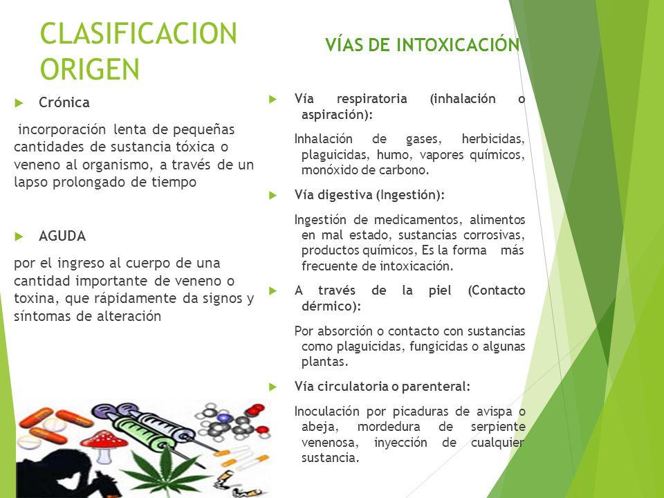 CLASIFICACION ORIGEN VÍAS DE INTOXICACIÓN Crónica