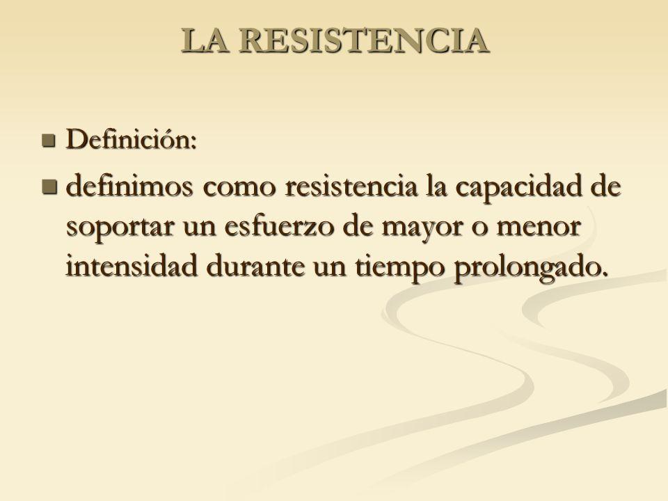LA RESISTENCIA Definición: definimos como resistencia la capacidad de soportar un esfuerzo de mayor o menor intensidad durante un tiempo prolongado.