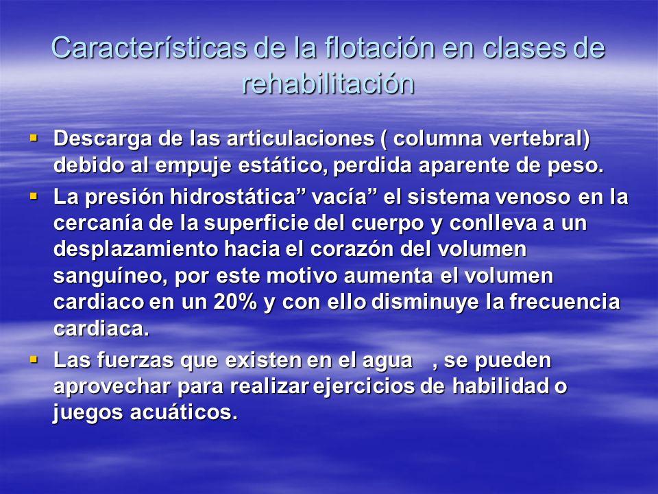 Características de la flotación en clases de rehabilitación