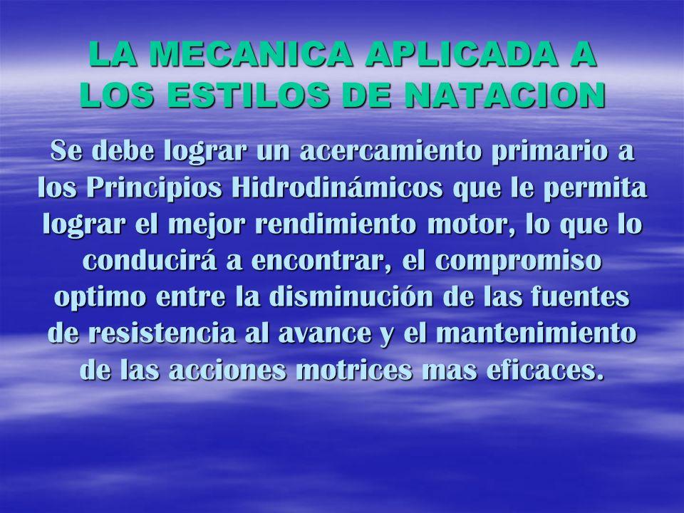 LA MECANICA APLICADA A LOS ESTILOS DE NATACION