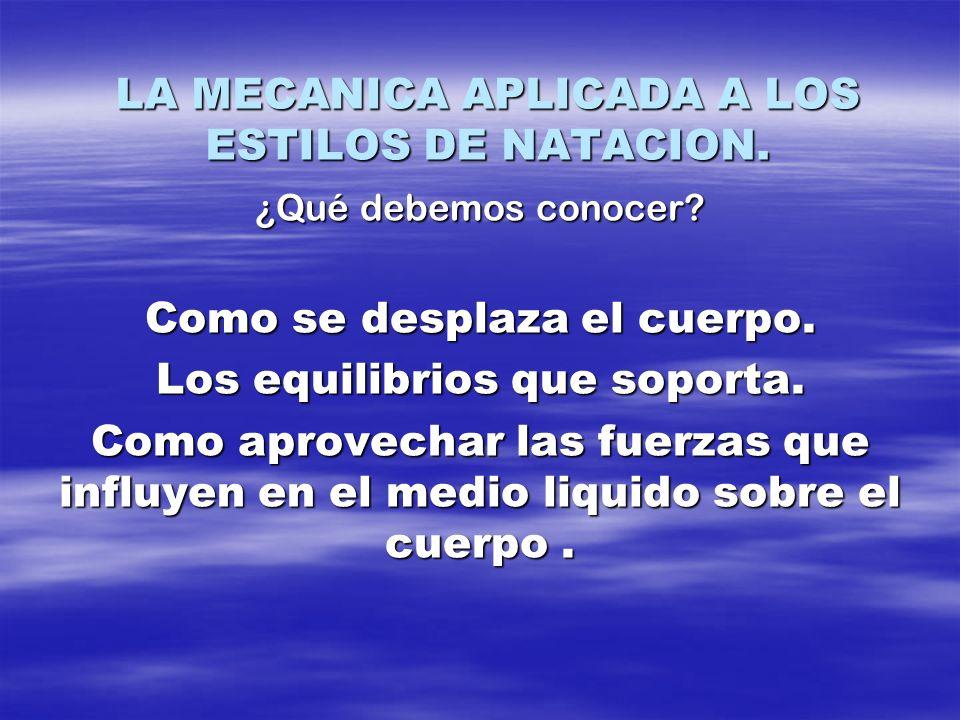 LA MECANICA APLICADA A LOS ESTILOS DE NATACION.