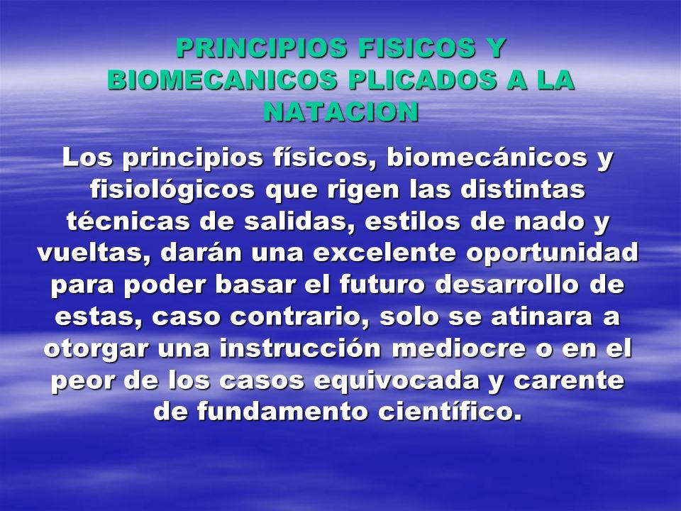 PRINCIPIOS FISICOS Y BIOMECANICOS PLICADOS A LA NATACION