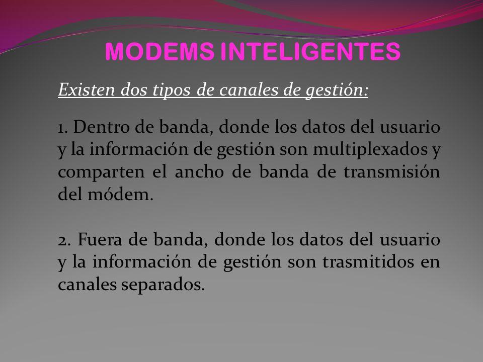 MODEMS INTELIGENTES Existen dos tipos de canales de gestión: