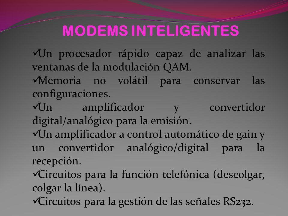 MODEMS INTELIGENTES Un procesador rápido capaz de analizar las ventanas de la modulación QAM. Memoria no volátil para conservar las configuraciones.