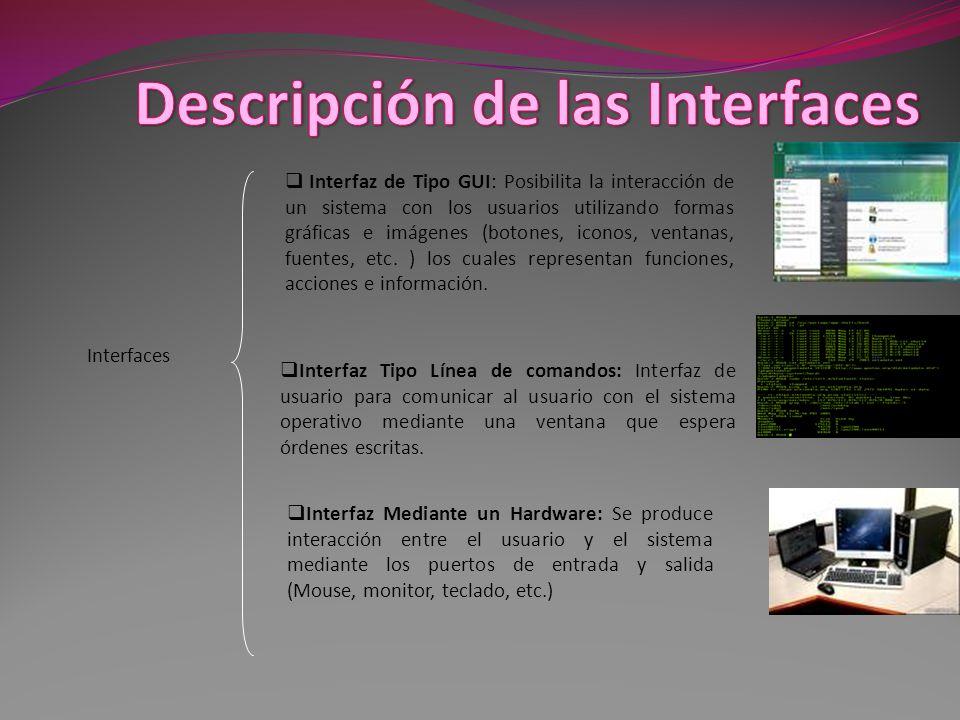 Descripción de las Interfaces
