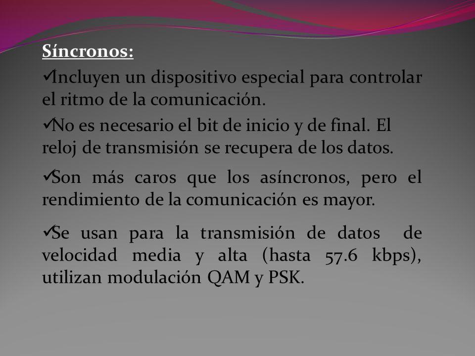 Síncronos: Incluyen un dispositivo especial para controlar el ritmo de la comunicación.