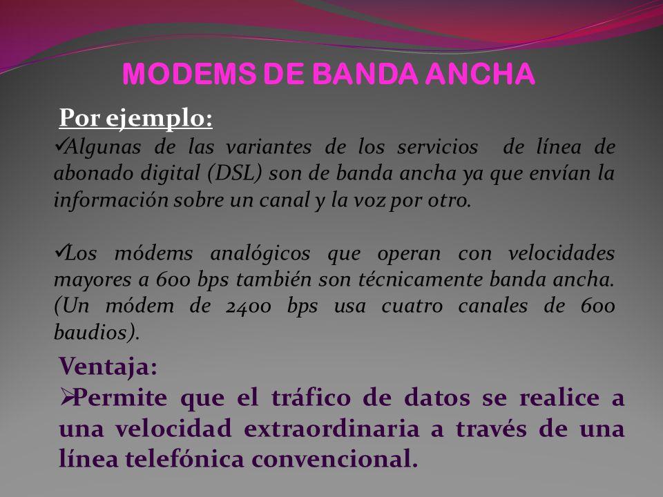 MODEMS DE BANDA ANCHA Por ejemplo: Ventaja: