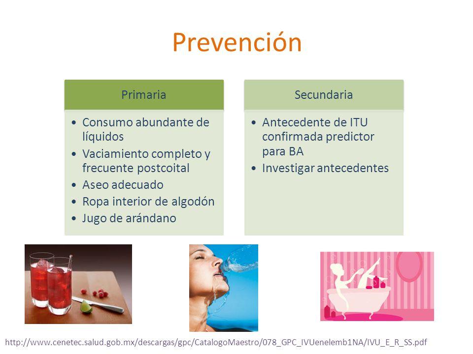 Prevención Primaria Consumo abundante de líquidos