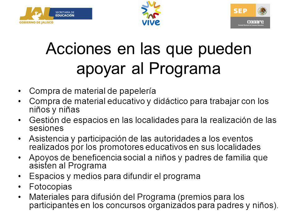 Acciones en las que pueden apoyar al Programa