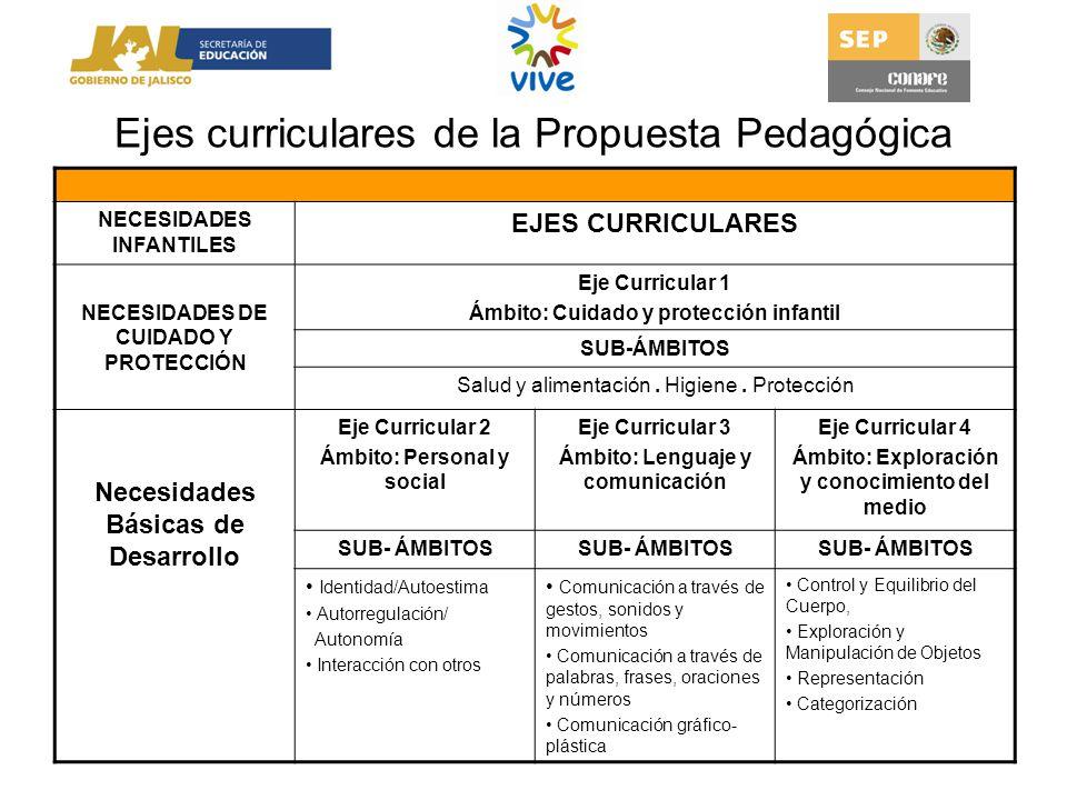 Ejes curriculares de la Propuesta Pedagógica