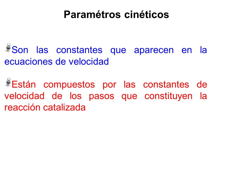 Paramétros cinéticos Son las constantes que aparecen en la ecuaciones de velocidad.