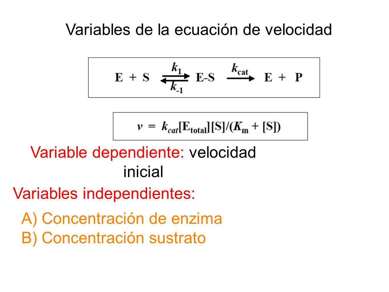 Variables de la ecuación de velocidad