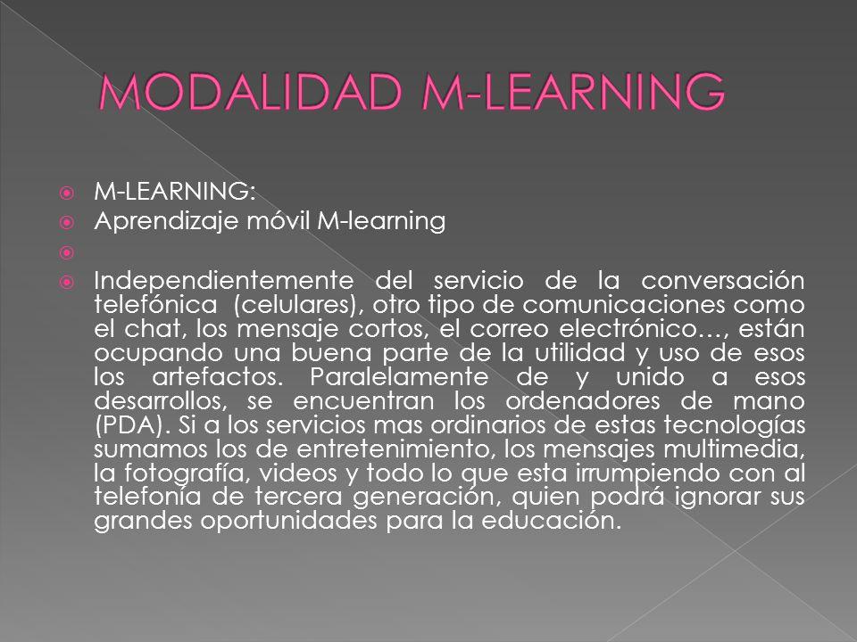 MODALIDAD M-LEARNING M-LEARNING: Aprendizaje móvil M-learning