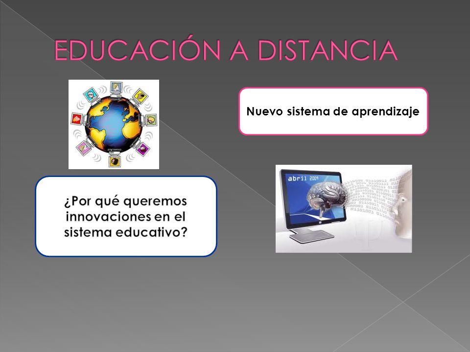 EDUCACIÓN A DISTANCIA Nuevo sistema de aprendizaje.