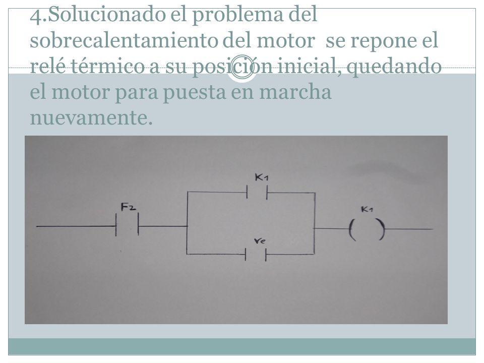 4.Solucionado el problema del sobrecalentamiento del motor se repone el relé térmico a su posición inicial, quedando el motor para puesta en marcha nuevamente.