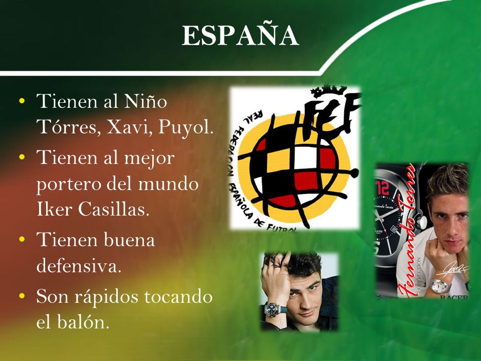 ESPAÑA Tienen al Niño Tórres, Xavi, Puyol.