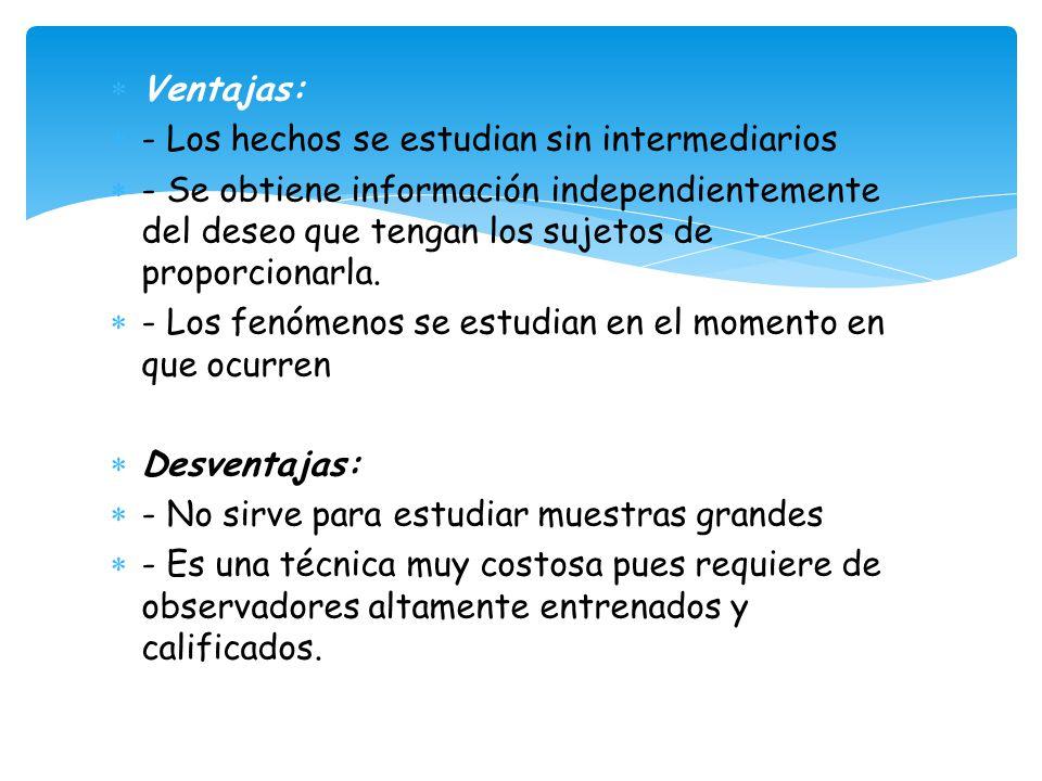 Ventajas: - Los hechos se estudian sin intermediarios.