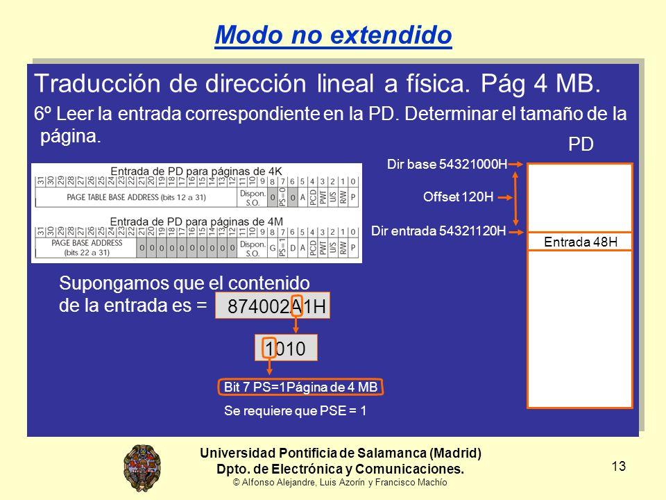 Traducción de dirección lineal a física. Pág 4 MB.