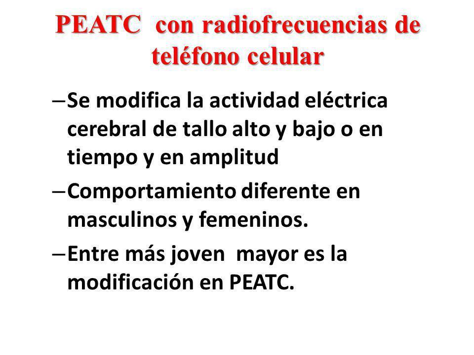 PEATC con radiofrecuencias de teléfono celular