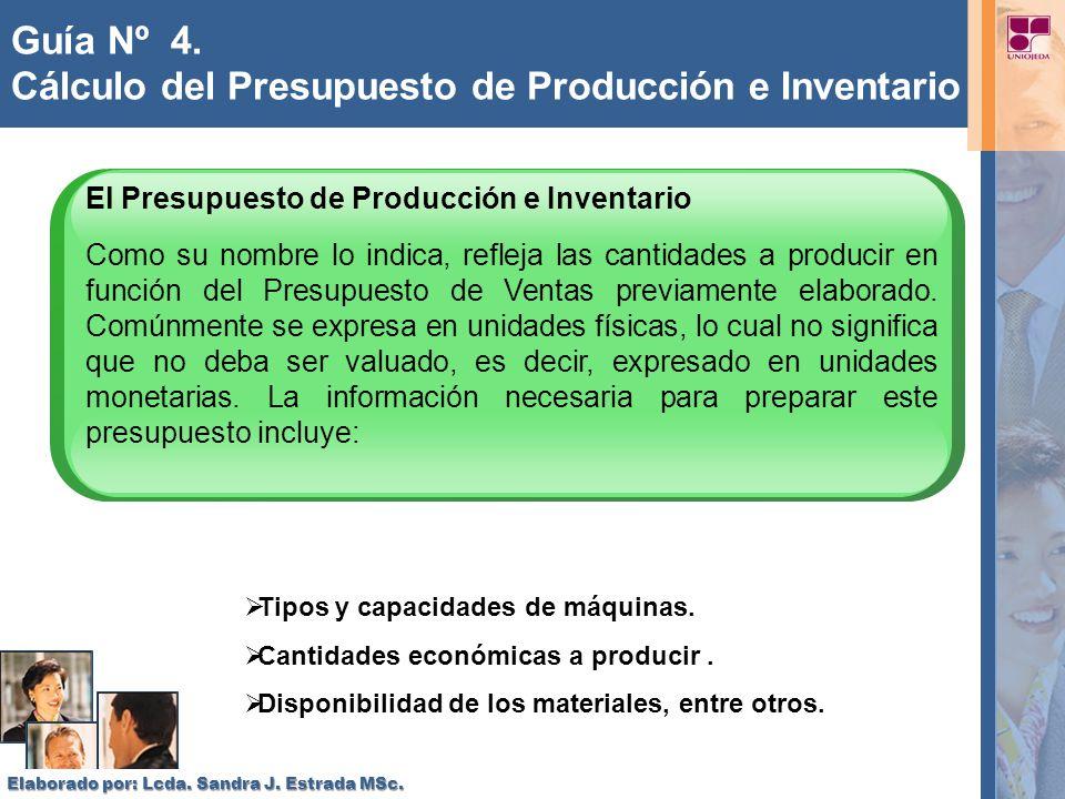Guía Nº 4. Cálculo del Presupuesto de Producción e Inventario