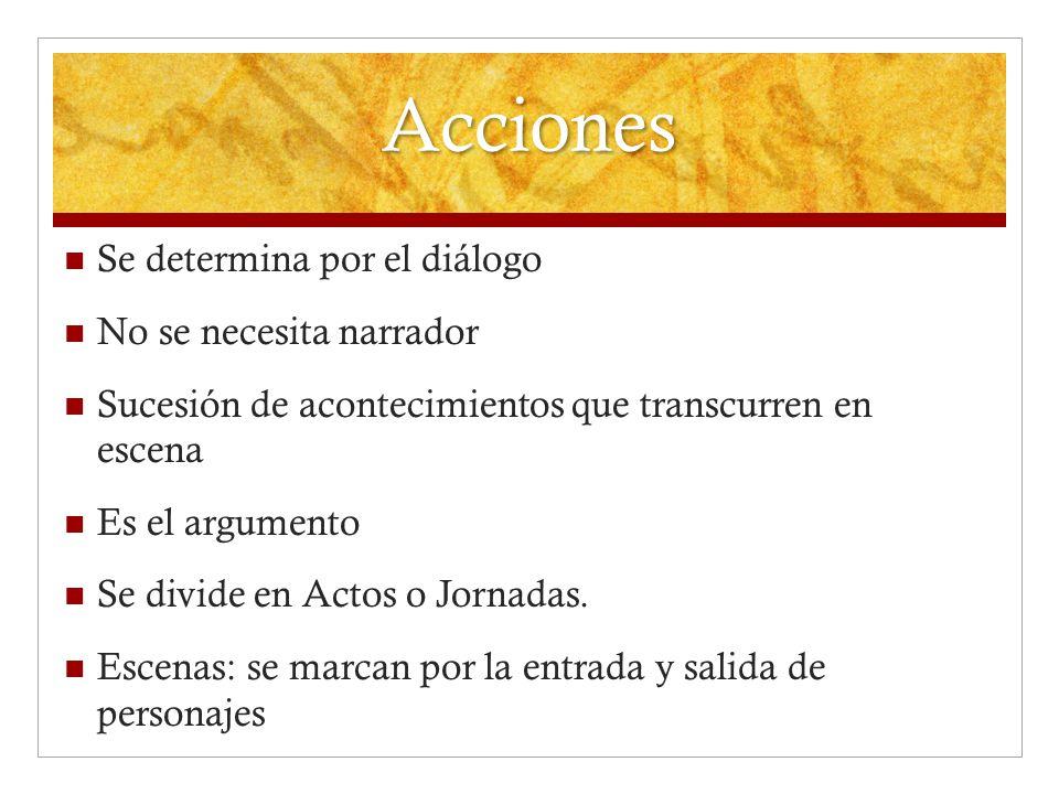 Acciones Se determina por el diálogo No se necesita narrador