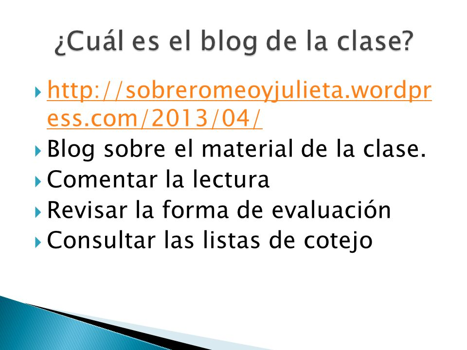 ¿Cuál es el blog de la clase