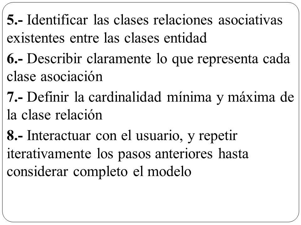 5.- Identificar las clases relaciones asociativas existentes entre las clases entidad