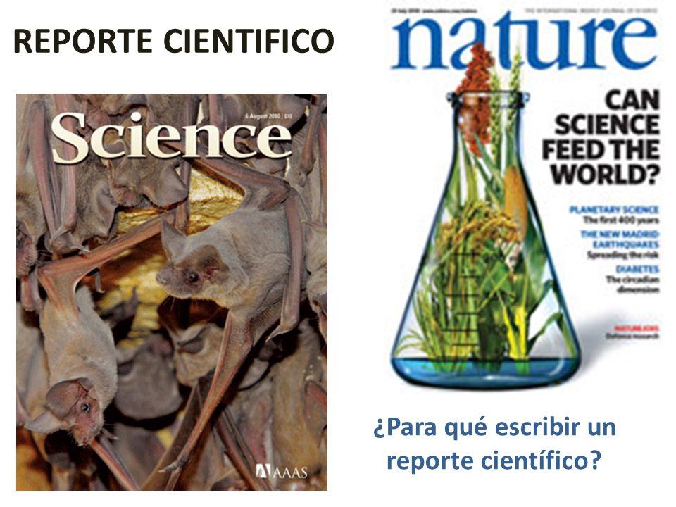¿Para qué escribir un reporte científico