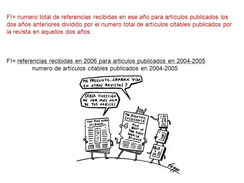 FI= numero total de referencias recibidas en ese año para artículos publicados los dos años anteriores dividido por el numero total de artículos citables publicados por la revista en aquellos dos años: