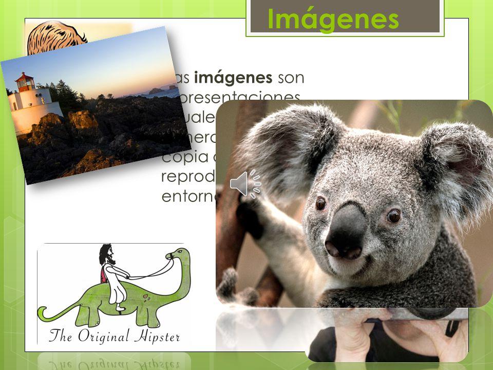 Imágenes Las imágenes son representaciones visuales estáticas, generadas por copia o reproducción del entorno.