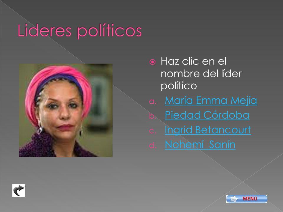 Lideres políticos Haz clic en el nombre del líder político