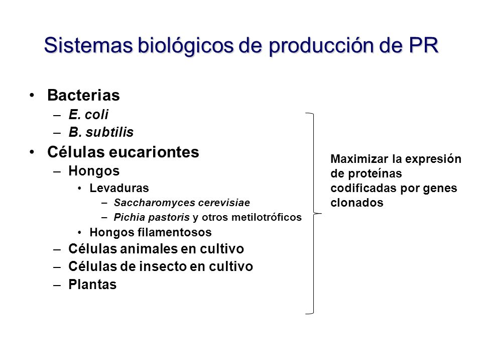 Sistemas biológicos de producción de PR
