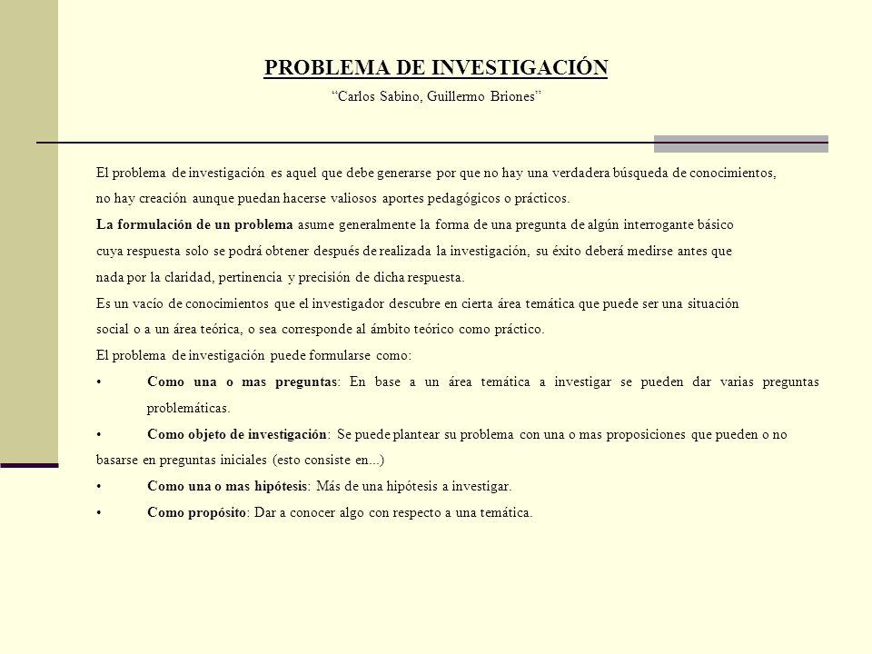 PROBLEMA DE INVESTIGACIÓN Carlos Sabino, Guillermo Briones