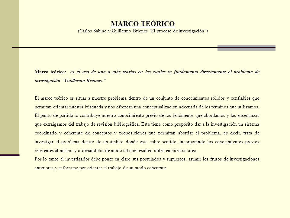 (Carlos Sabino y Guillermo Briones El proceso de investigación )
