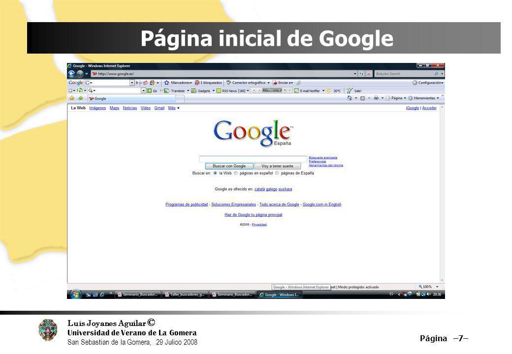 Página inicial de Google